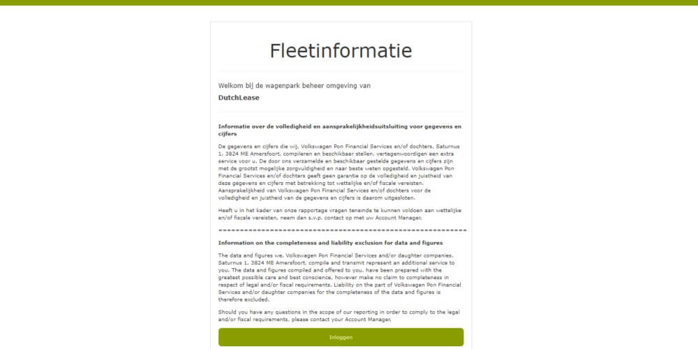 Fleetinformatie bij DutchLease